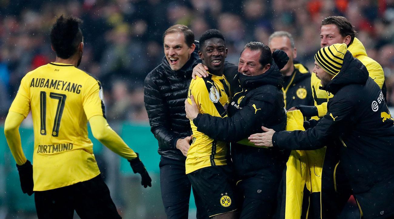 Ousmane Dembele scores for Borussia Dortmund vs. Bayern Munich