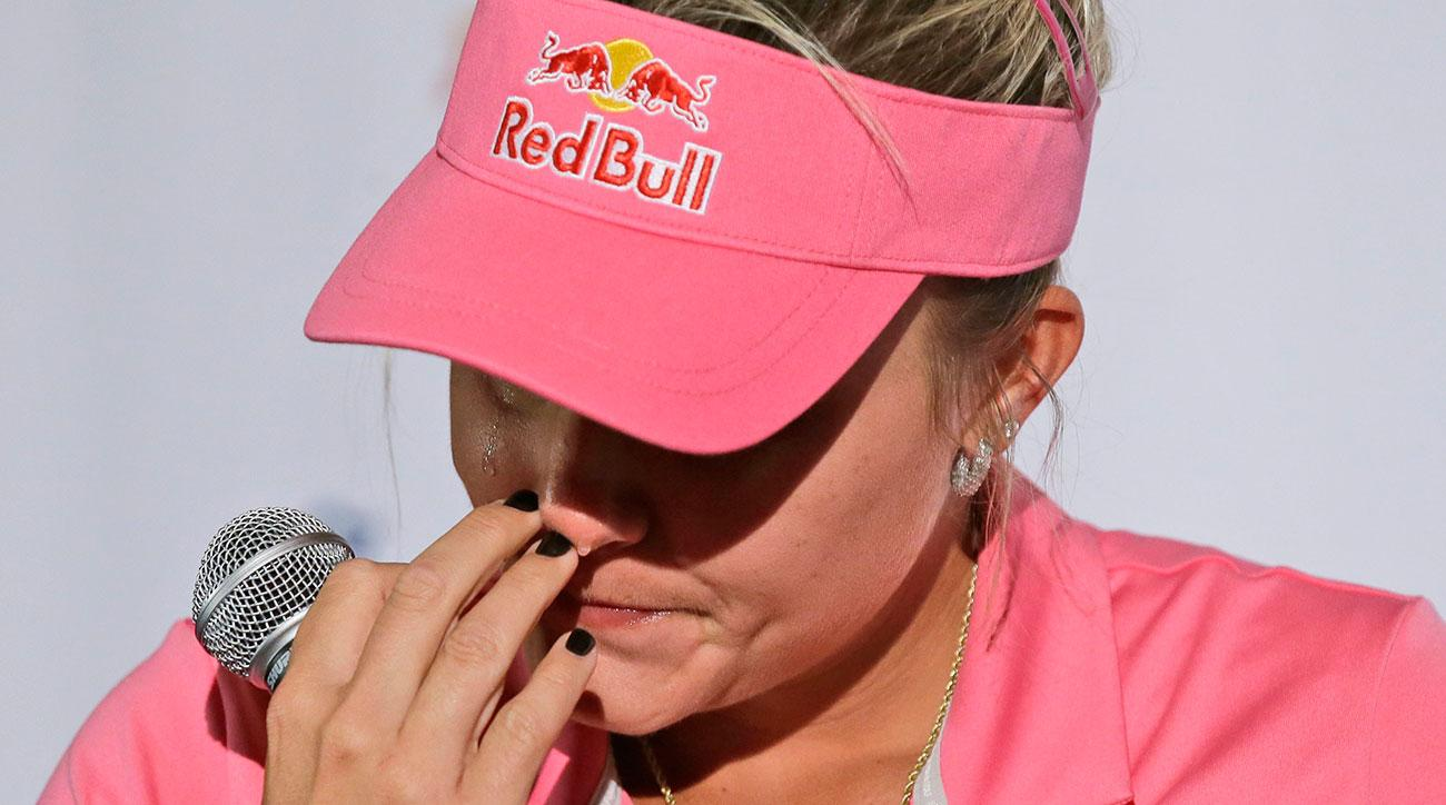 Lexi Thompson pauses after becoming emotional while speaking to reporters about her loss at the ANA Inspiration.
