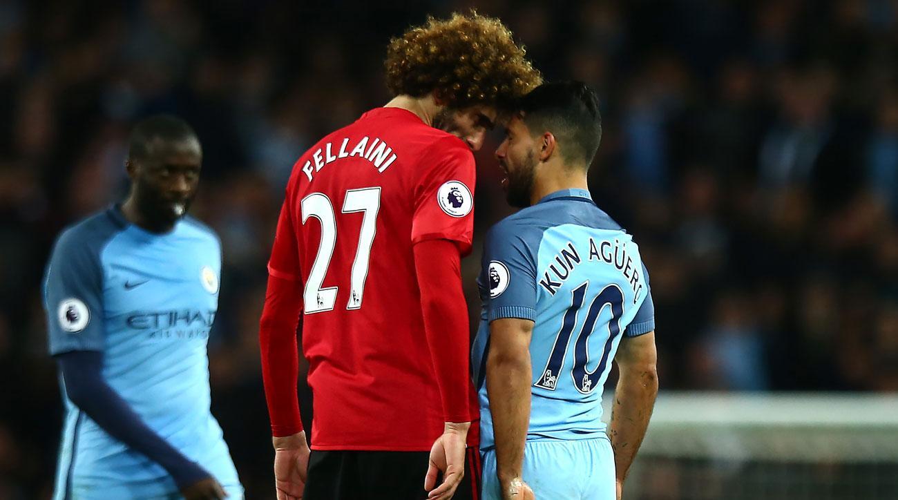 Marouane Fellaini headbutts Sergio Aguero in the Manchester derby