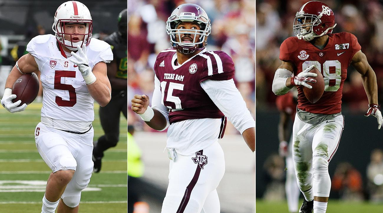 Christian McCaffrey (left), Myles Garrett (center) and O.J. Howard all could be Top 10 NFL draft picks by the time Thursday's first round is finished.