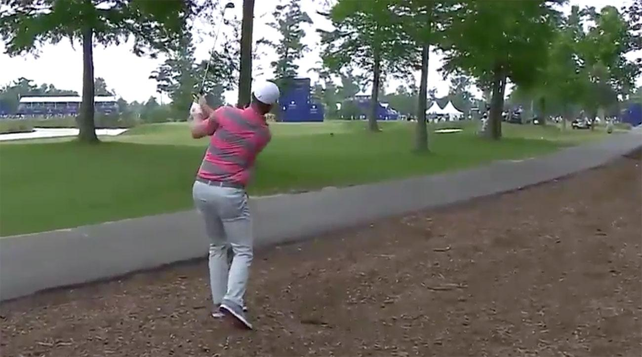 Duck! Justin Rose's second shot at the 16th hole ricocheted off a tree at the Zurich Classic.