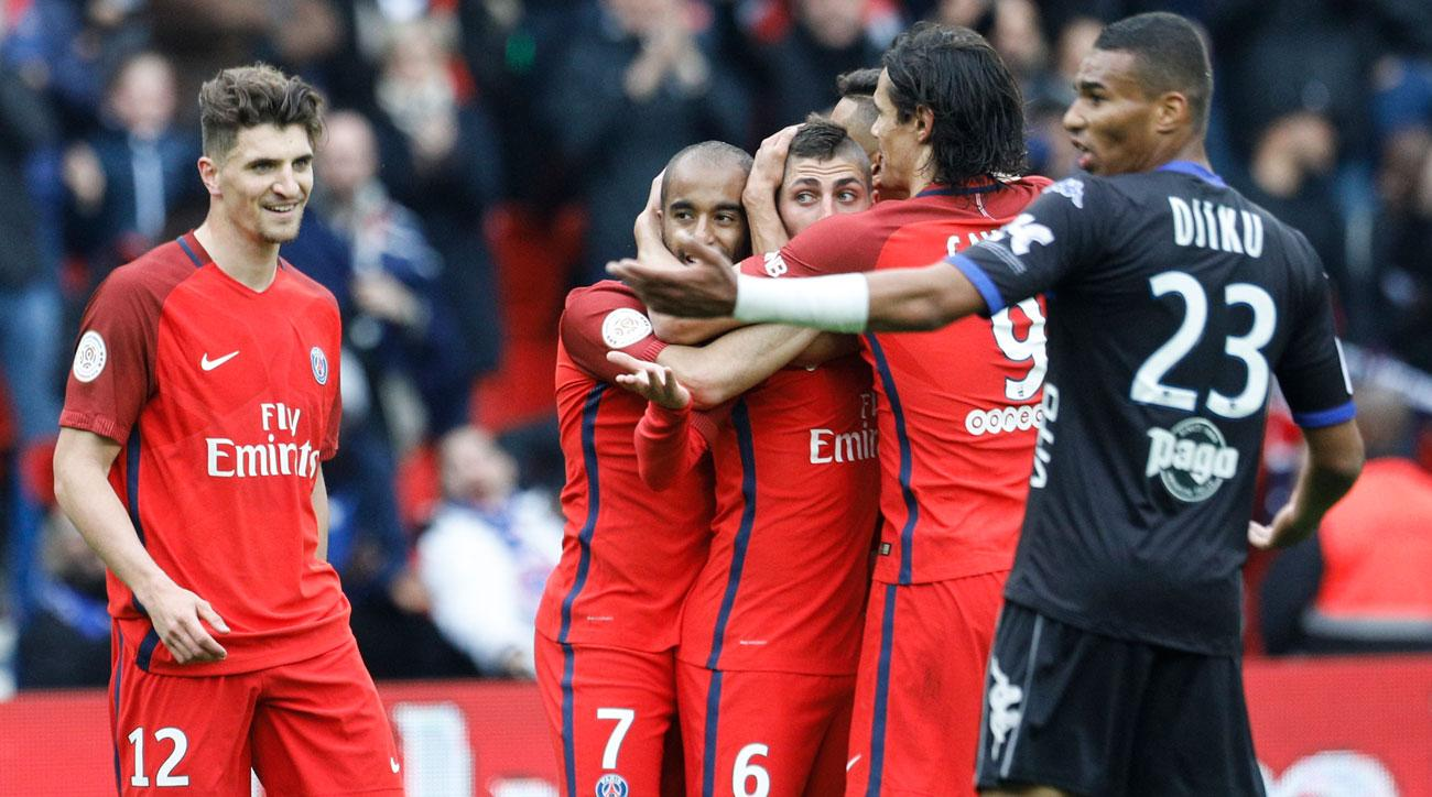 Marco Verratti scored a controversial goal in PSG's rout of Bastia