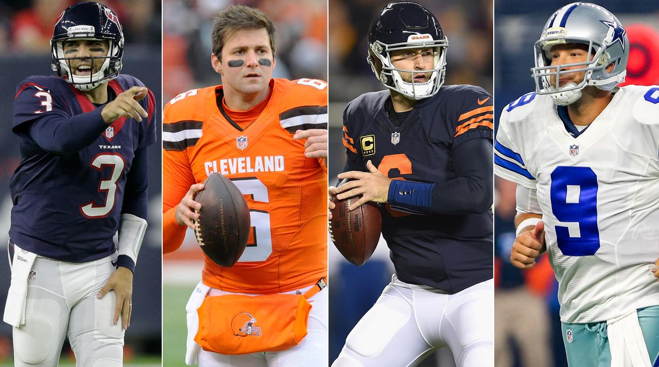 Tom Savage and Cody Kessler (left) will have starting quarterback jobs in 2017; Jay Cutler and Tony Romo will not.
