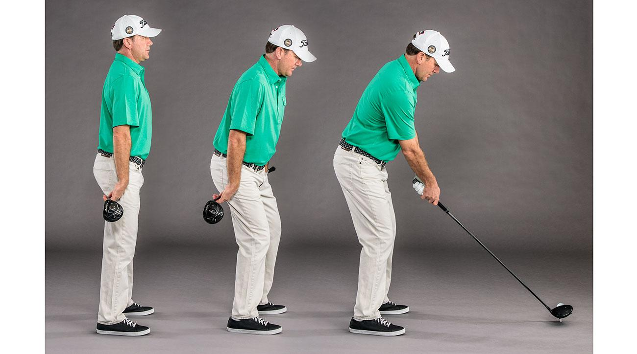 Turn your lower body away (with the help of your driver) while flexing your right knee. Result? A powerful, slice-free setup.