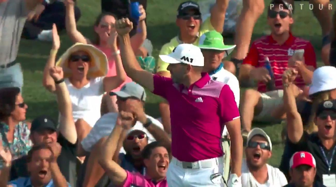 Sergio Garcia celebrates his hole-in-one Thursday at TPC Sawgrass.