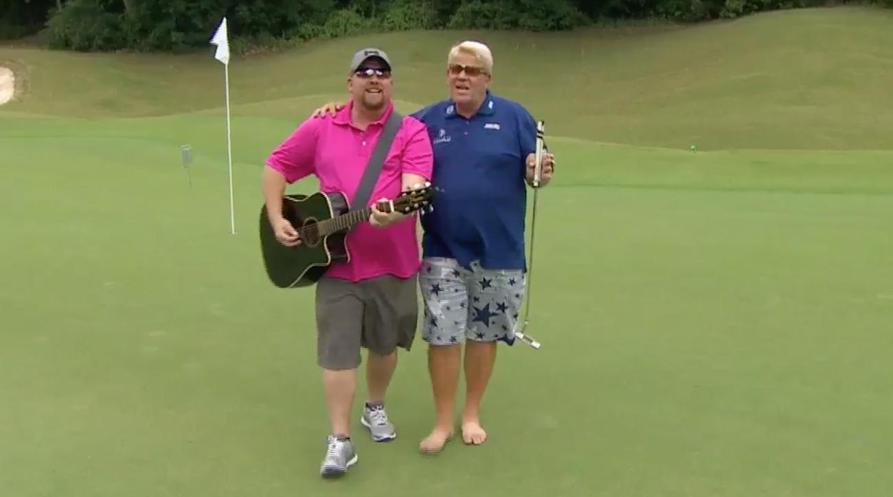 This was just one of the duets Daly pulled off at the Dallas Cowboys Golf Classic Wednesday.