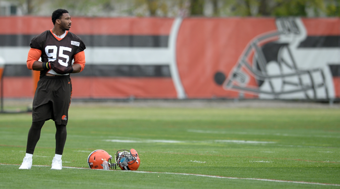 Myles Garrett, the first overall pick of the 2017 NFL draft, stands on the Browns' practice field at rookie minicamp.