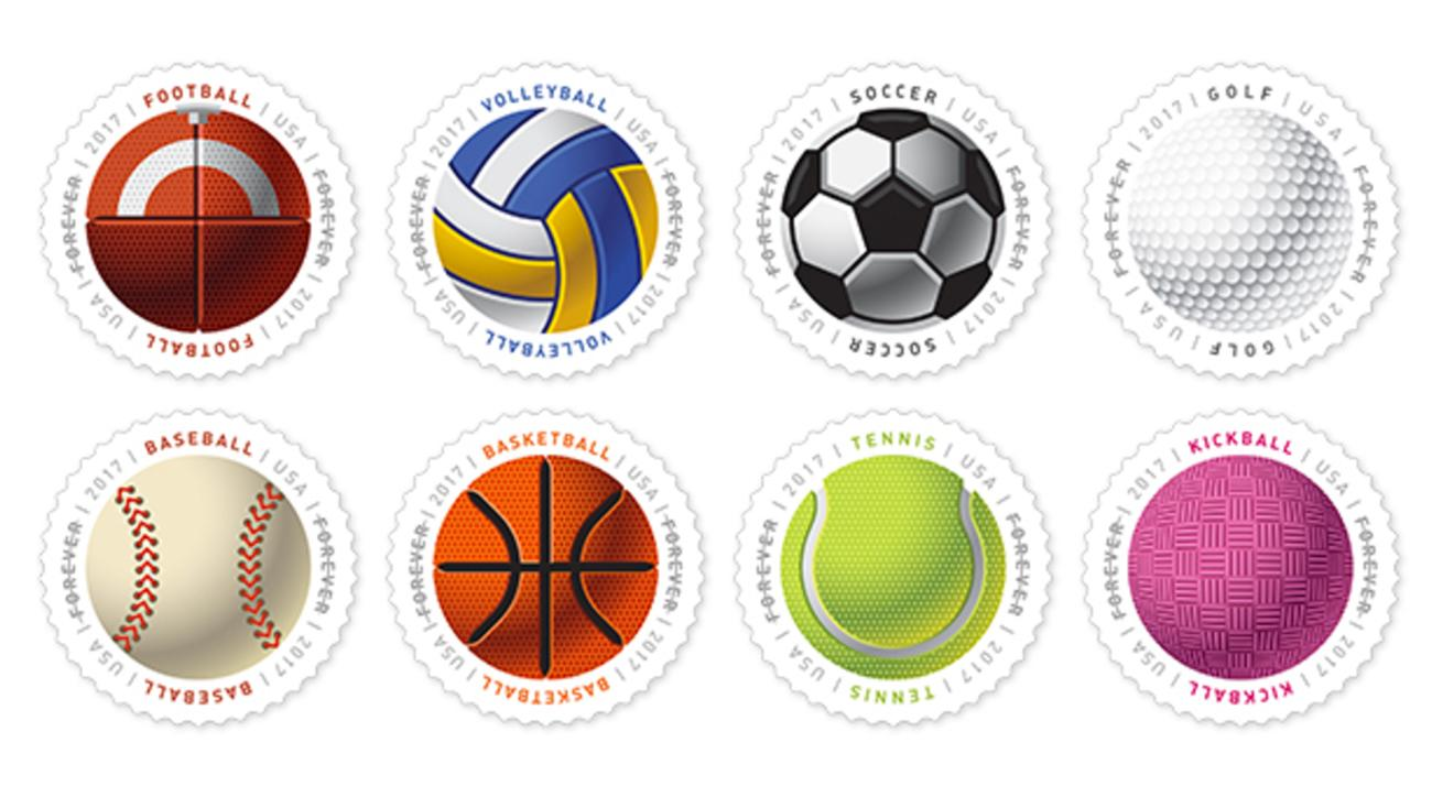 The new Have a Ball stamps are said to include the feel of the respective ball.