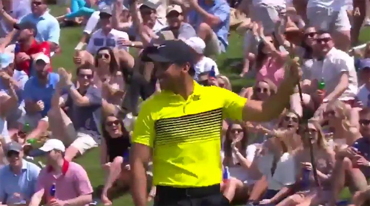 Jason Day celebrates after making a 60-foot putt during Round 3 of the AT&T Byron Nelson
