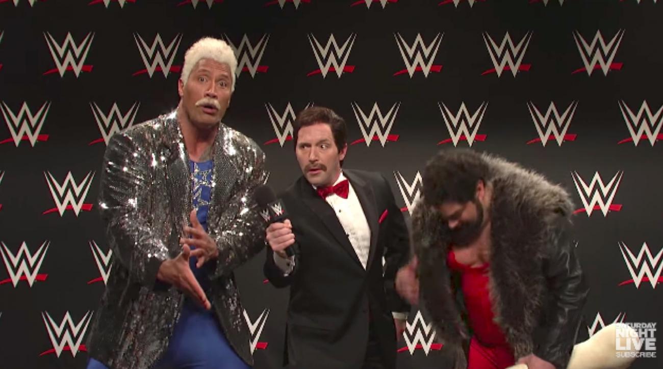 The Rock parodies WWE promo on Saturday Night Live ...