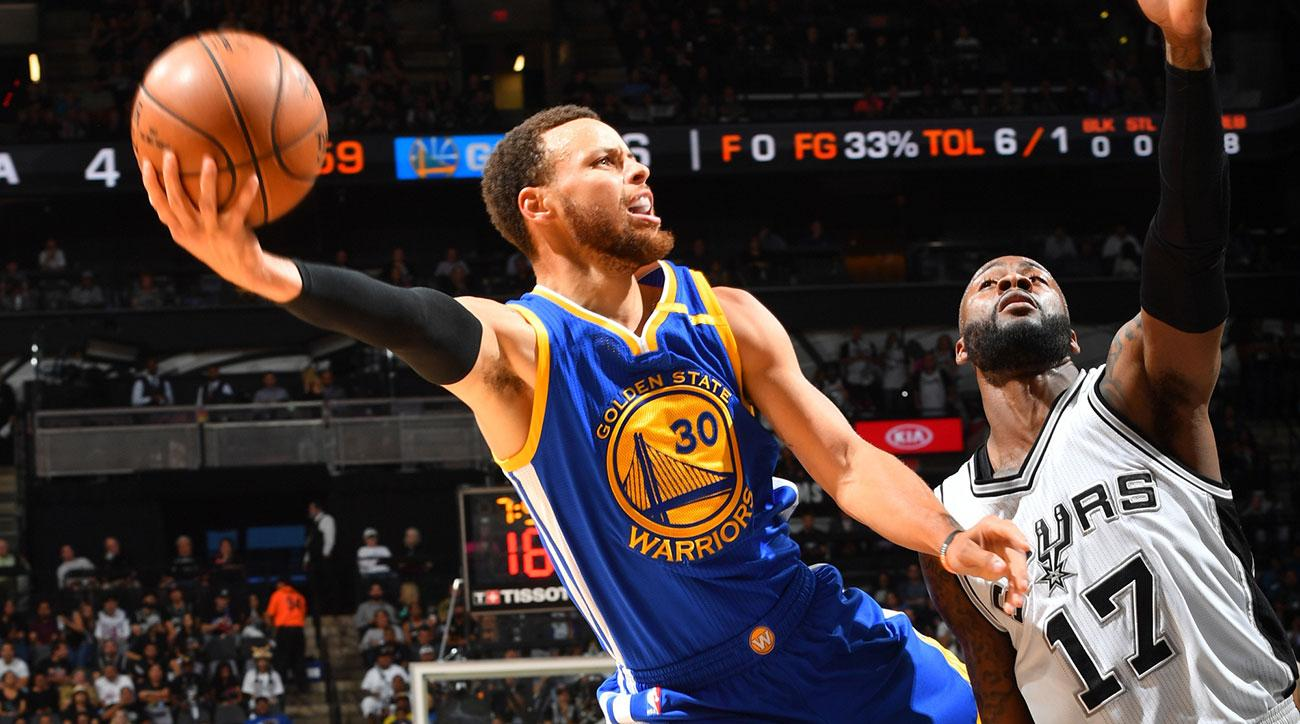 Stephen Curry #30 of the Golden State Warriors goes up for a shot against the San Antonio Spurs during Game Four of the Western Conference Finals of the 2017 NBA Playoffs on May 22, 2017 at the AT&T Center in San Antonio, Texas