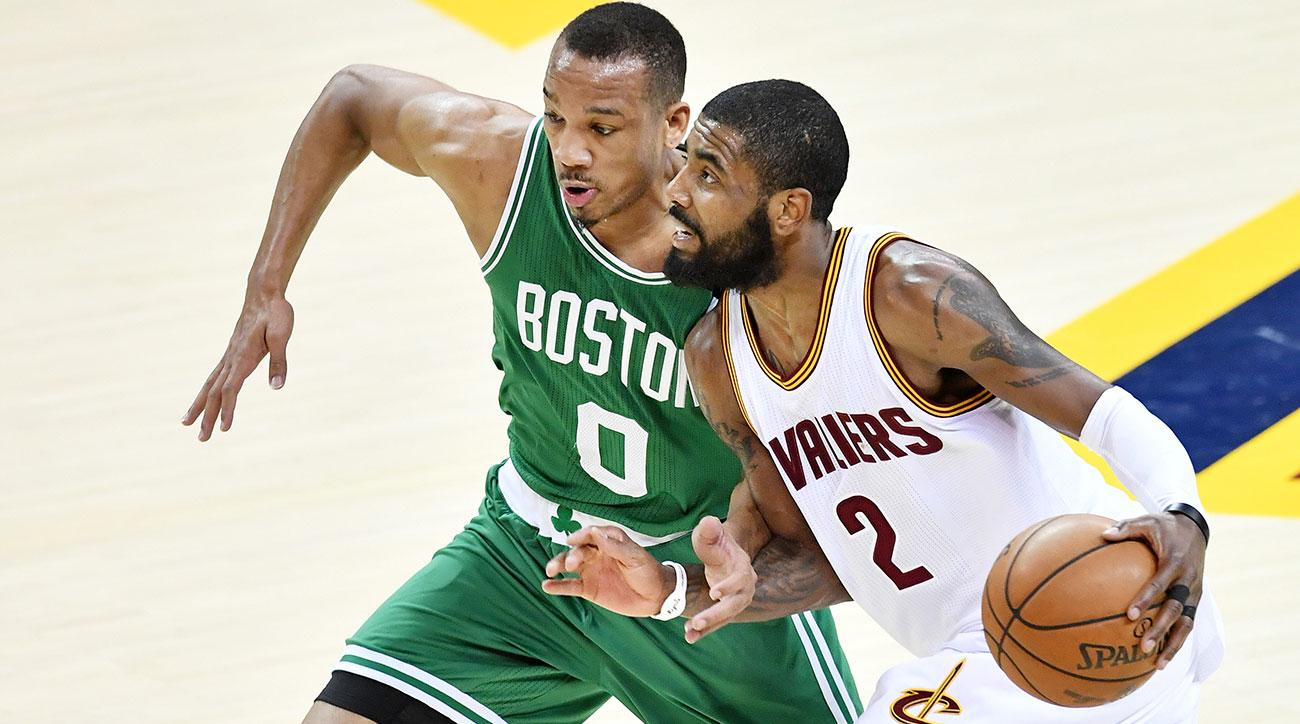 Kyrie Irving #2 of the Cleveland Cavaliers drives against Avery Bradley #0 of the Boston Celtics in the first half during Game Four of the 2017 NBA Eastern Conference Finals at Quicken Loans Arena on May 23, 2017 in Cleveland, Ohio.