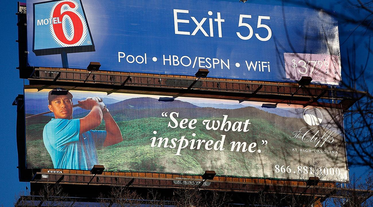 A 2009 billboard touting The Cliffs High Carolina community, the intended site of Tiger Woods's first course design.