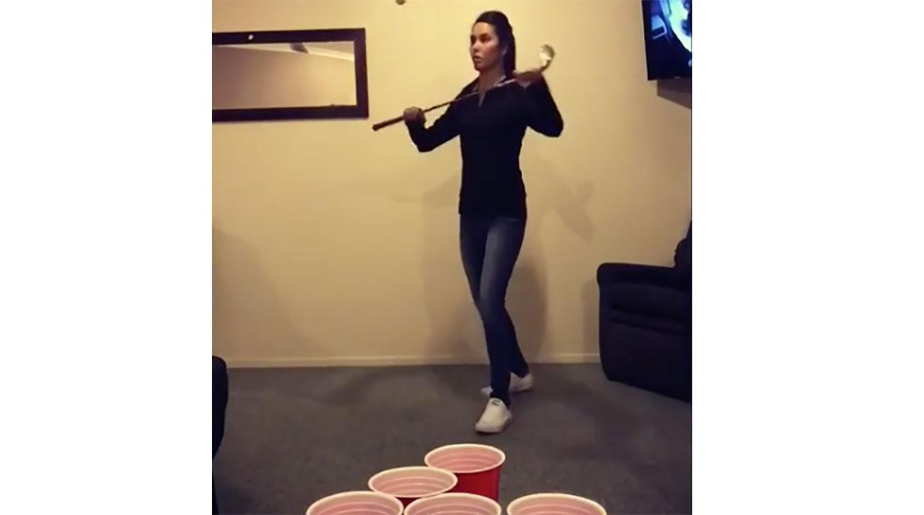 Tania Tare puts regular beer pong players to shame.