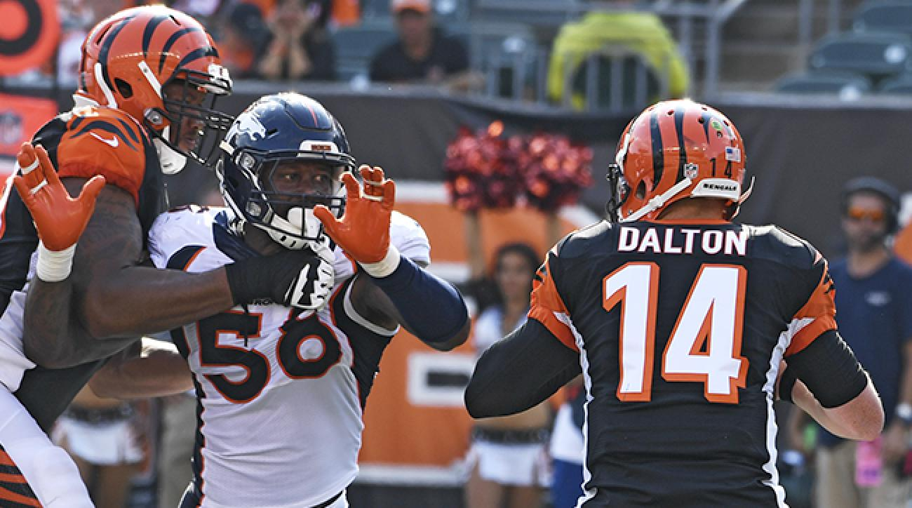 Attacking the offense's right edge, Von Miller is in better position for a strip-sack and—perhaps more troublingly for an offense—is in the QB's peripheral vision.
