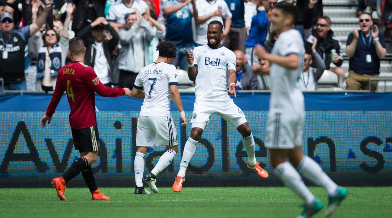 Kendall Waston scores for the Vancouver Whitecaps against Atlanta United
