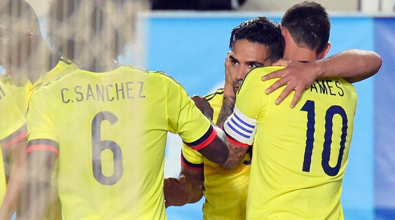 Radamel Falcao scores for Colombia vs. Spain