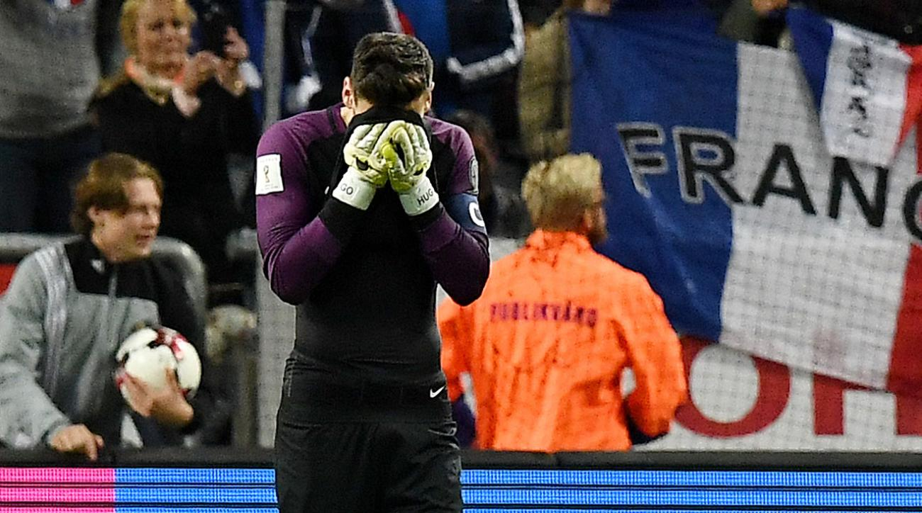 France goalkeeper Hugo Lloris made a shocking blunder last night