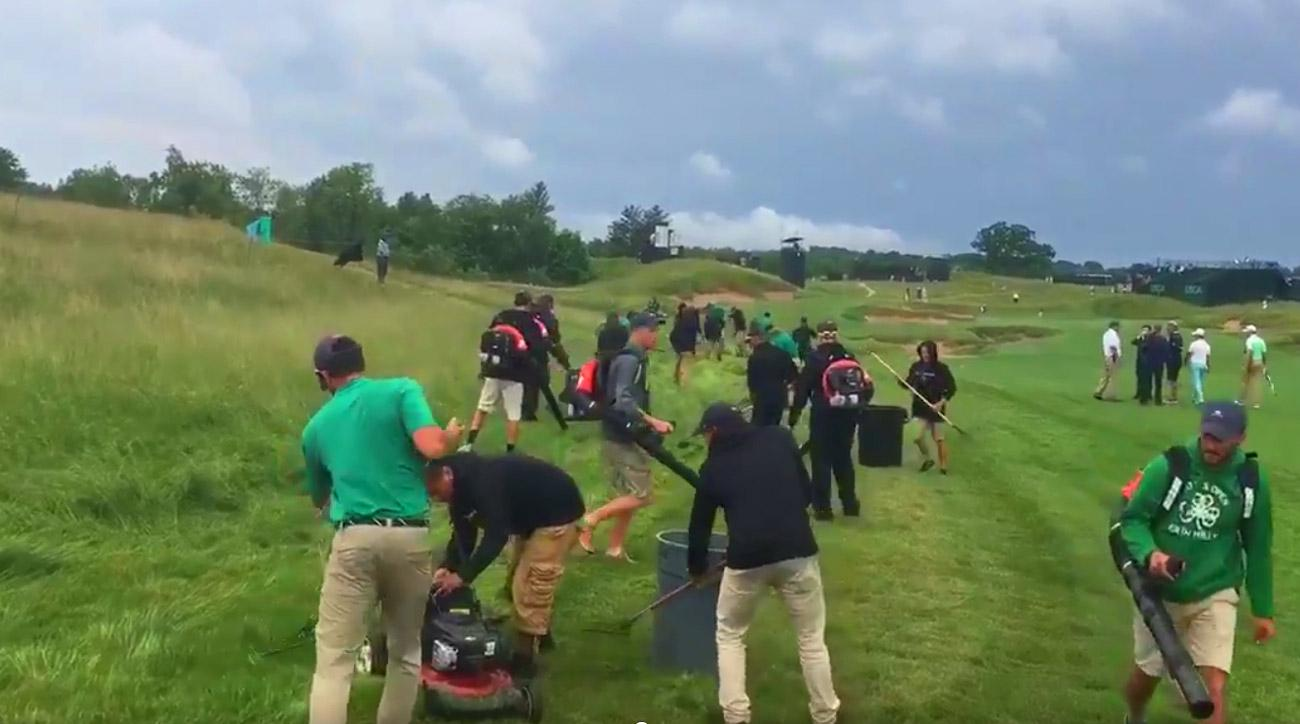 The USGA crew mows fescue at Erin Hills on Tuesday of U.S. Open week.