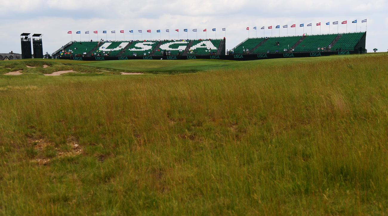 A general view of the 18th green during a practice round prior to the 2017 U.S. Open at Erin Hills.