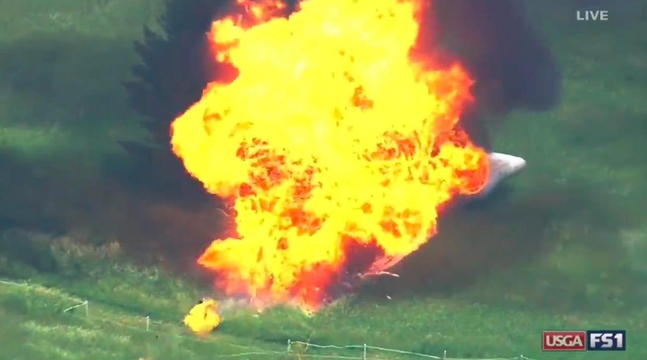 Fox Sports aired a clip of the blimp exploding after crashing near Erin Hills.