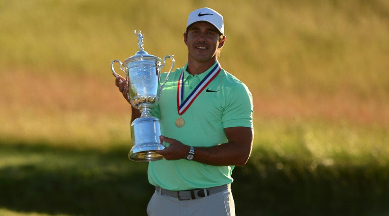 Brooks Koepka holding trophy USGA Golf: 2017 U.S. Open