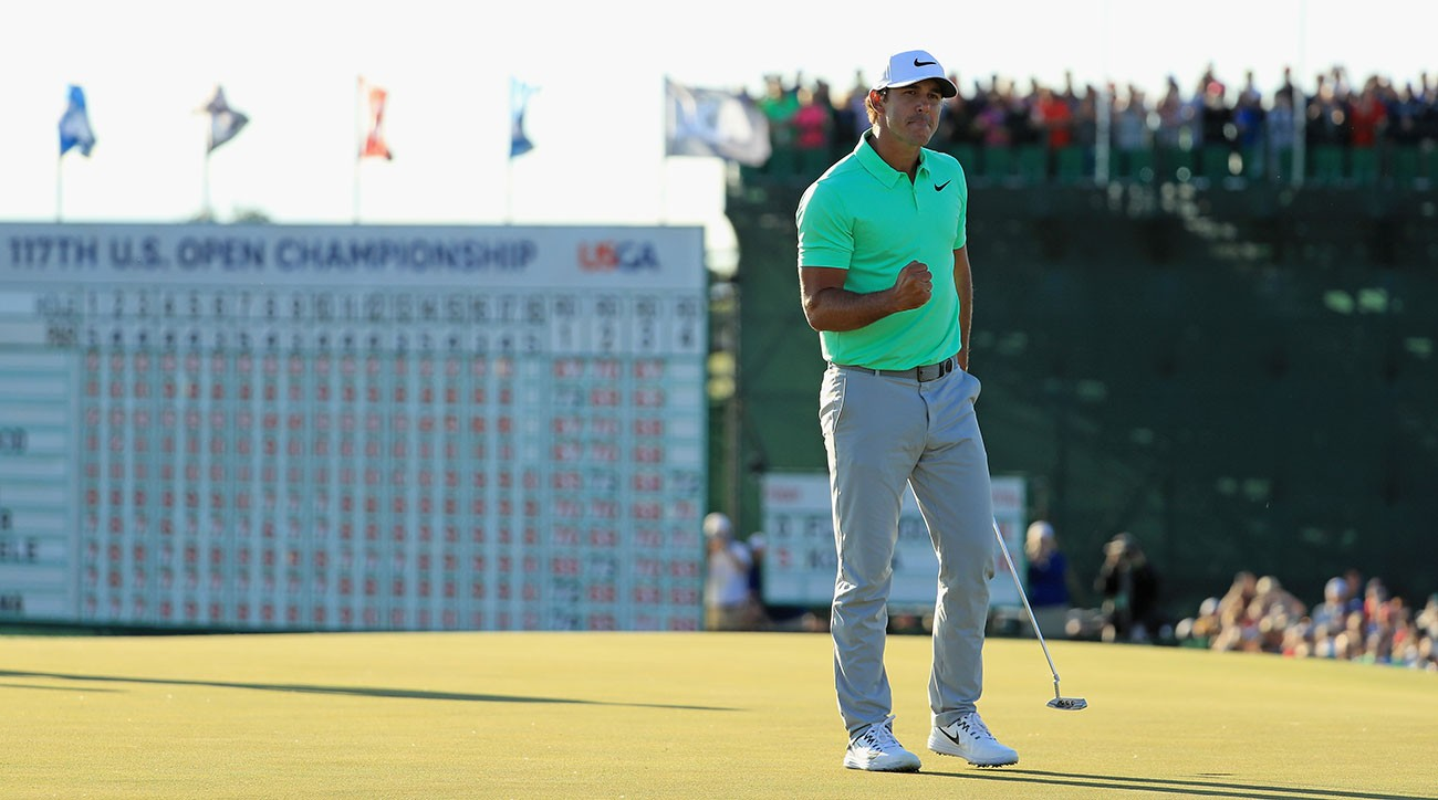 Brooks Koepka reacts after winning the 2017 U.S. Open at Erin Hills.