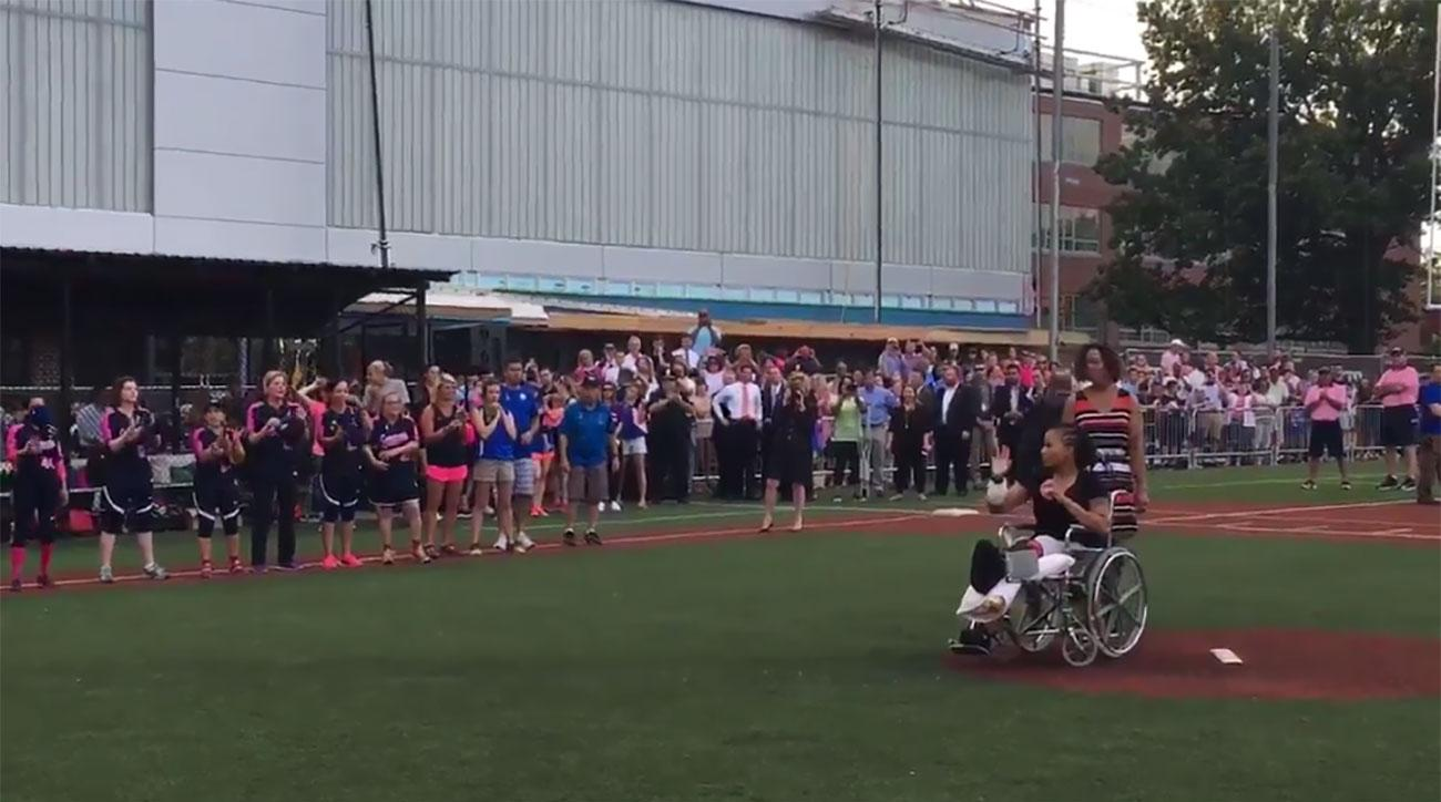 Officer Shot at Congressional Baseball Practice Throws First Pitch at Women's Game