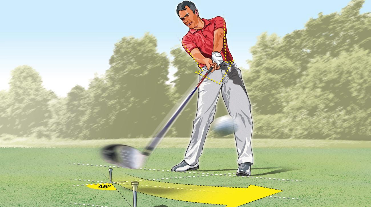 If you're having accuracy problems off the tee, you may not be extending your arms properly through impact. Swinging the clubhead out over a second tee is a good way to groove a fairway-splitting move.