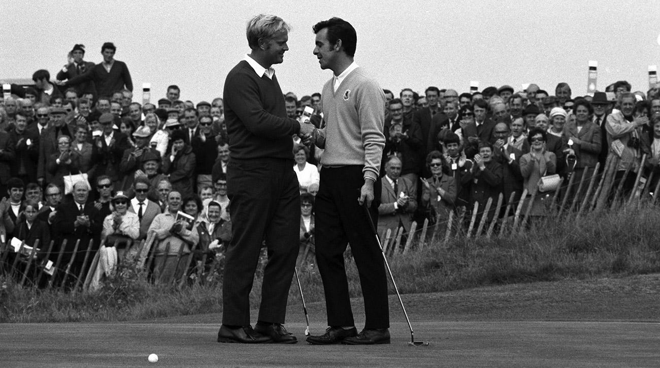 Jack Nicklaus congratulates Tony Jacklin after their 1969 Ryder Cup match at Royal Birkdale. The teams tied.