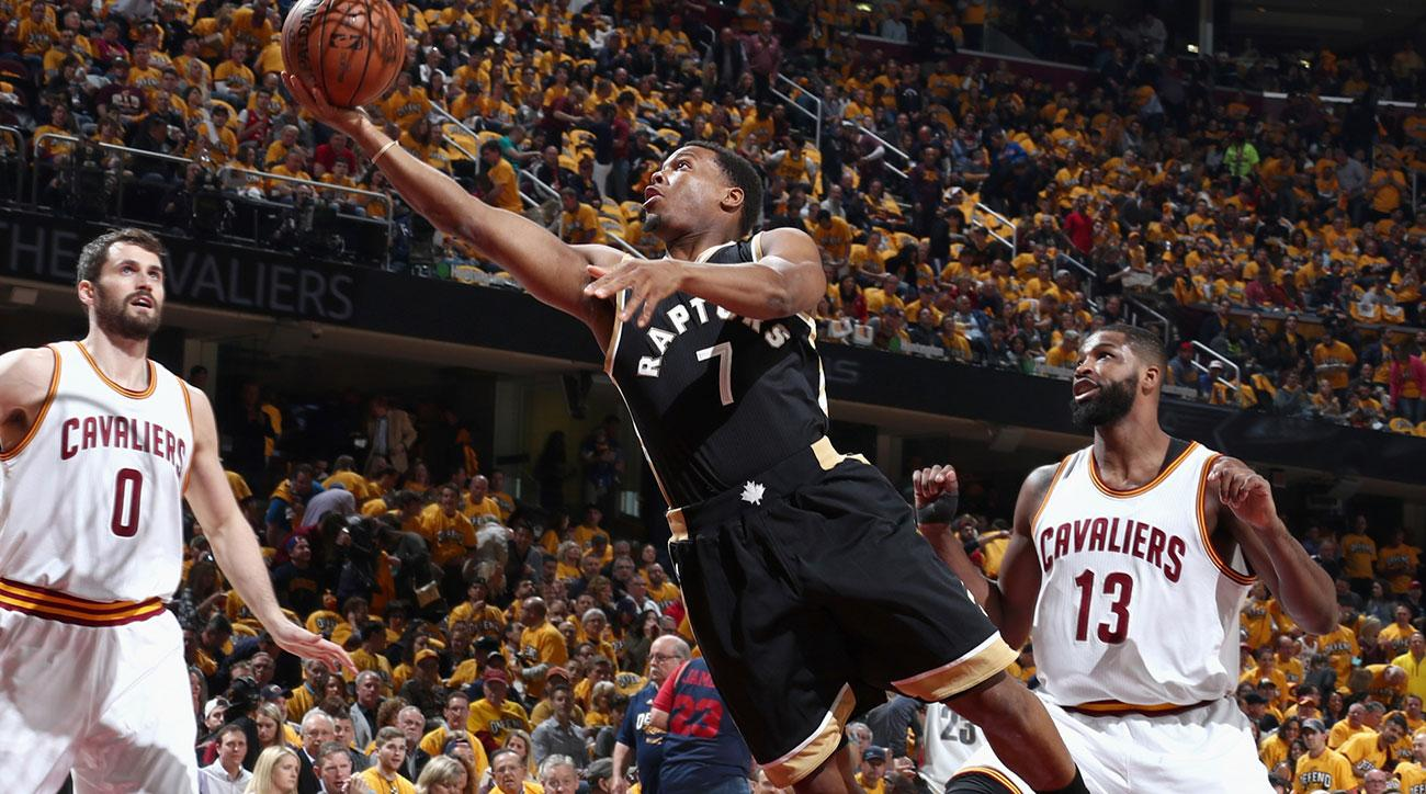 Kyle Lowry #7 of the Toronto Raptors goes to the basket against the Cleveland Cavaliers during Game Two of the Eastern Conference Semifinals of the 2017 NBA Playoffs on May 3, 2017 at Quicken Loans Arena in Cleveland, Ohio.