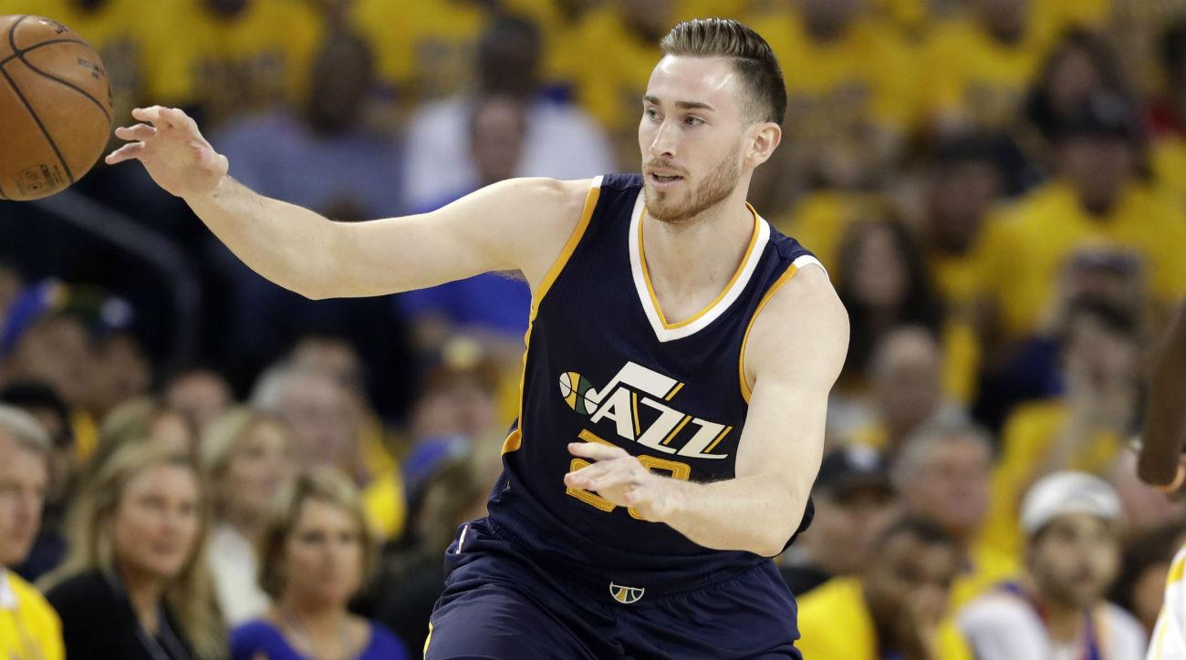 Utah Jazz's Gordon Hayward, left, during the first half in Game 2 of an NBA basketball second-round playoff series next to Golden State Warriors' Draymond Green (23) , Thursday, May 4, 2017, in Oakland, Calif. (AP Photo/Marcio Jose Sanchez)