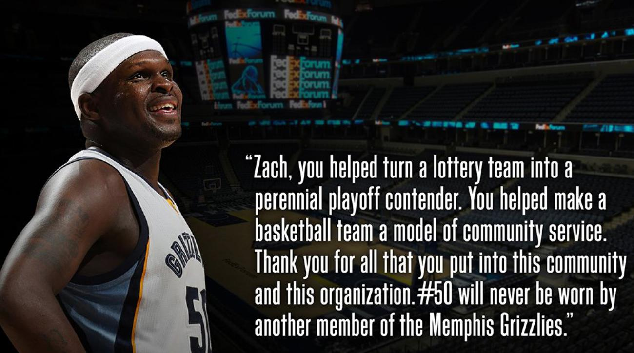 3b5cf8655 Grizzlies pay tribute to Zach Randolph with open letters and retire his  number