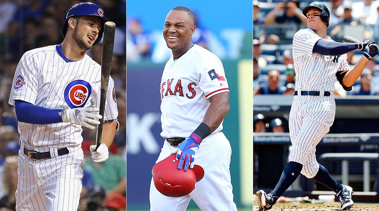 Kris Bryant, Chicago Cubs; Adrian Beltre; Texas Rangers; Aaron Judge, New York Yankees