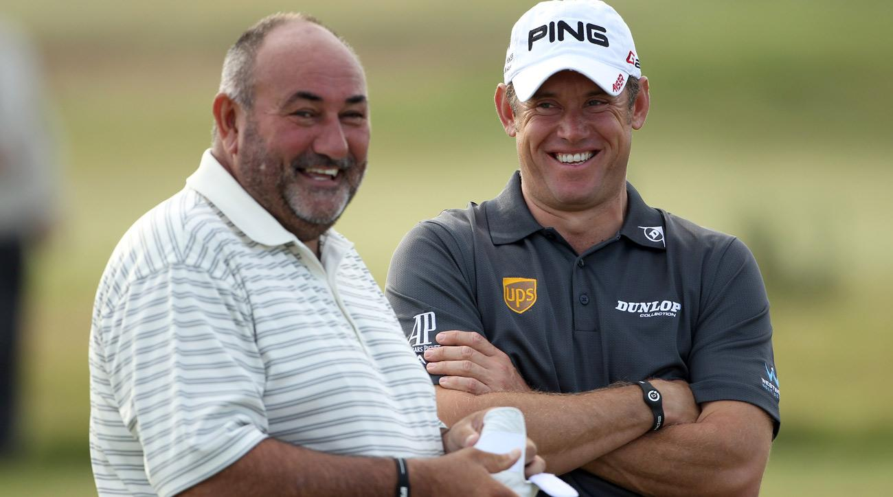 "Lee Westwood and Andrew ""Chubby"" Chandler during the second round of the 2011 Alfred Dunhill Links Championship."
