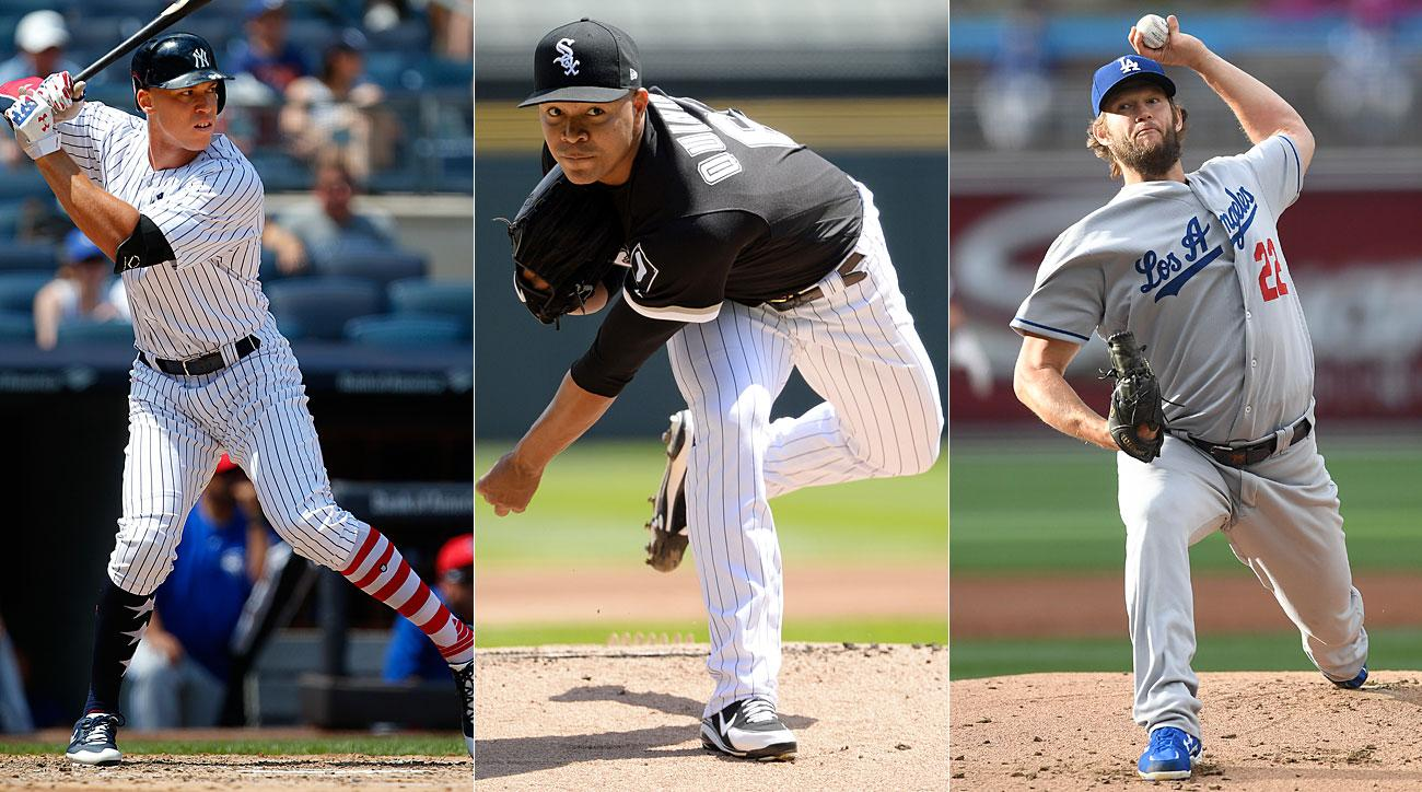 Aaron Judge, New York Yankees; Jose Quintana, Chicago Cubs; Clayton Kershaw, Los Angeles Dodgers