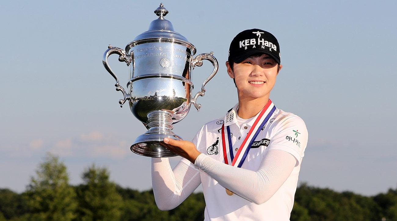 Sung Hyun Park of Korea poses with the trophy after the final round of the U.S. Women's Open.