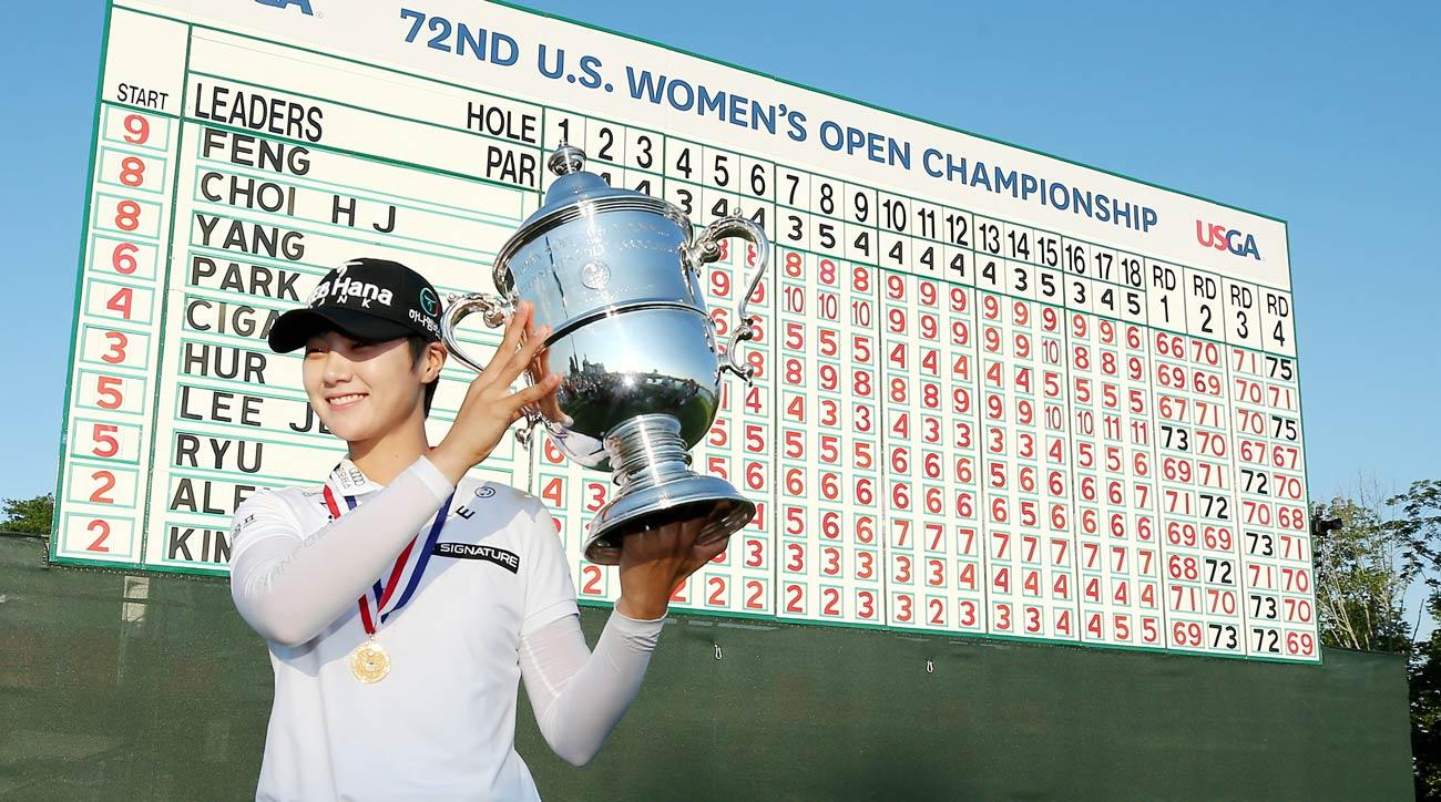 Sung Hyun Park poses with the trophy after the final round of the U.S. Women's Open.
