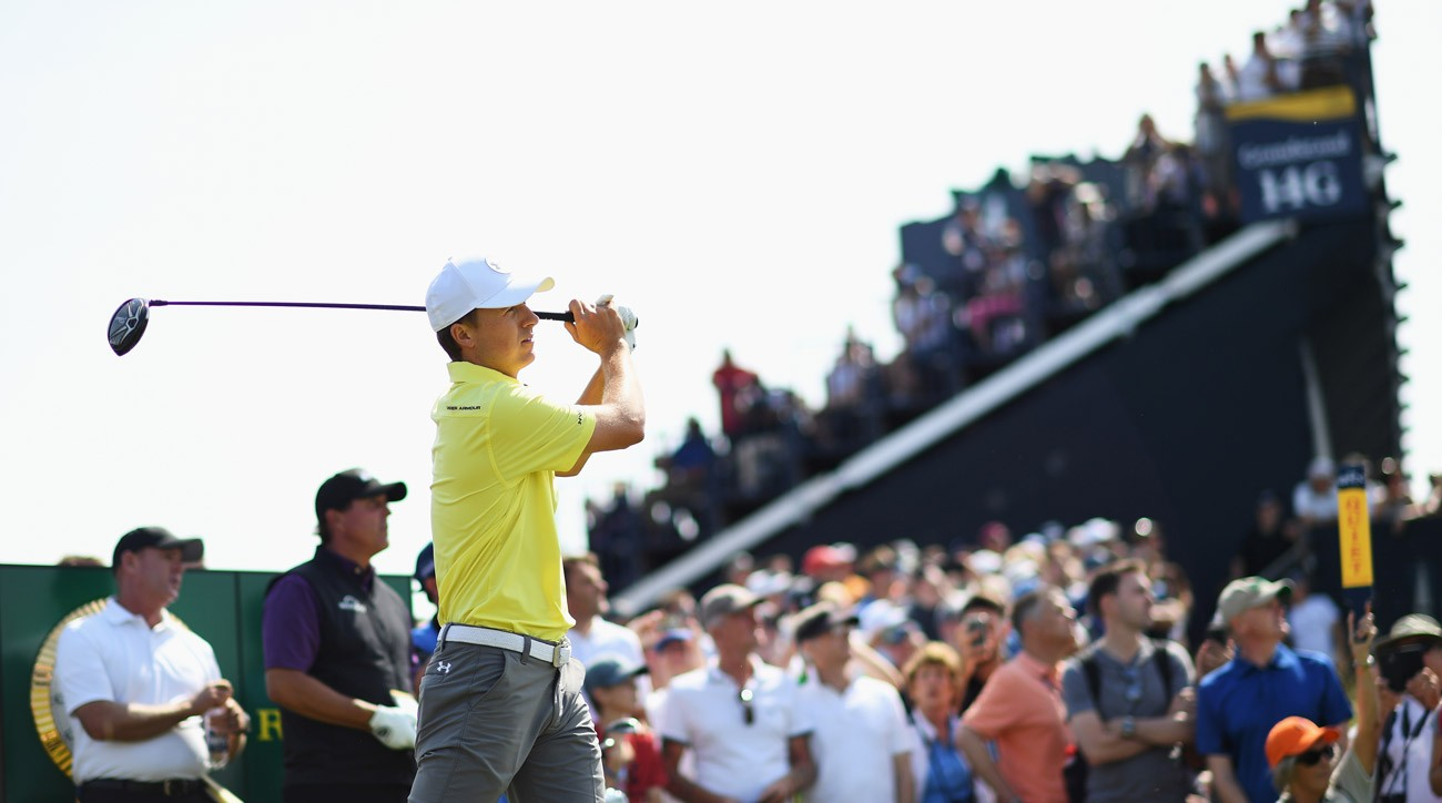 Jordan Spieth tees off during a practice round prior to the 146th Open Championship at Royal Birkdale.