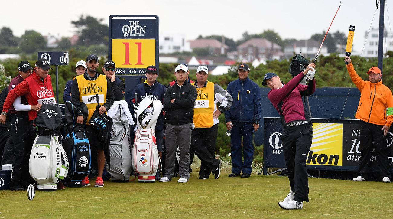 Jordan Spieth made a key eagle on the back nine and leads the British Open after 36 holes.