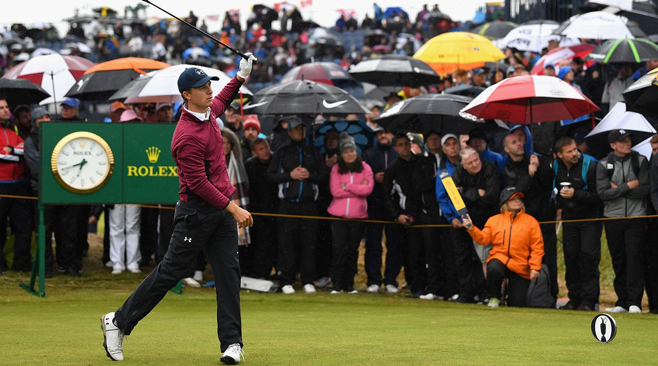 Jordan Spieth of the United States tees off on the 15th hole during the second round of the 146th Open Championship at Royal Birkdale on July 21, 2017 in Southport, England. (Photo by Richard Heathcote/R&A/R&A via Getty Images)