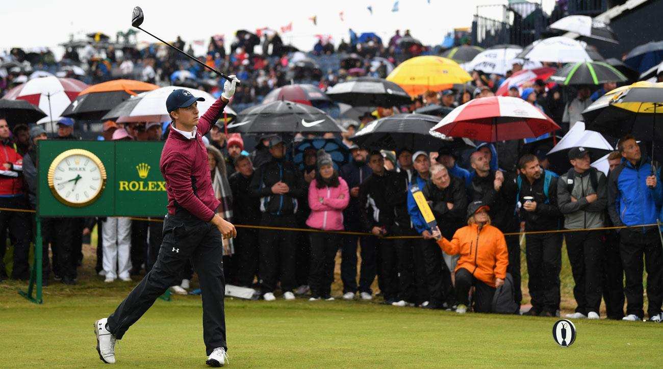 Jordan Spieth tees off on the 15th hole during the second round of the 146th Open Championship at Royal Birkdale.