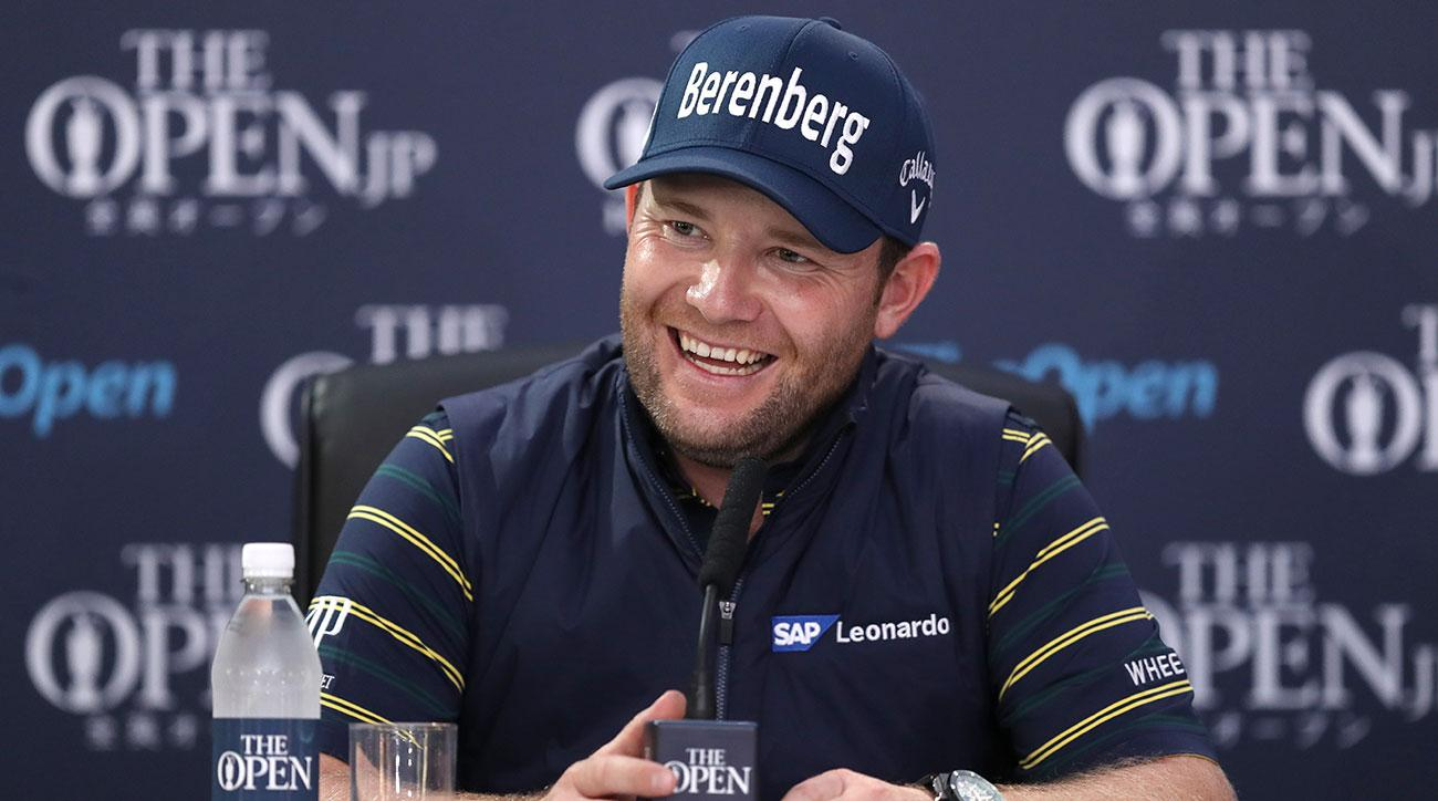 Branden Grace at a press conference following his third round at the 2017 Open Championship. He shot 62, the lowest score at a major championship.