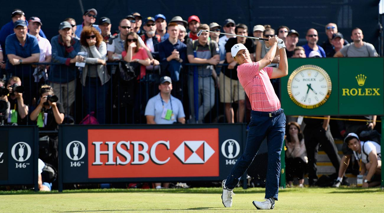 Jordan Spieth tees off on the 4th hole during the third round of the 146th Open Championship.