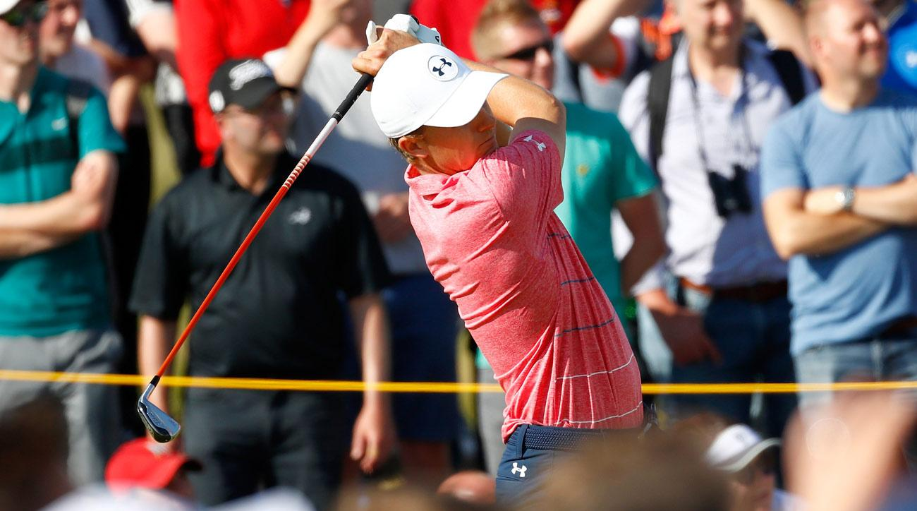 Jordan Spieth hits his tee shot on the 9th hole during the third round of the 146th Open Championship at Royal Birkdale.