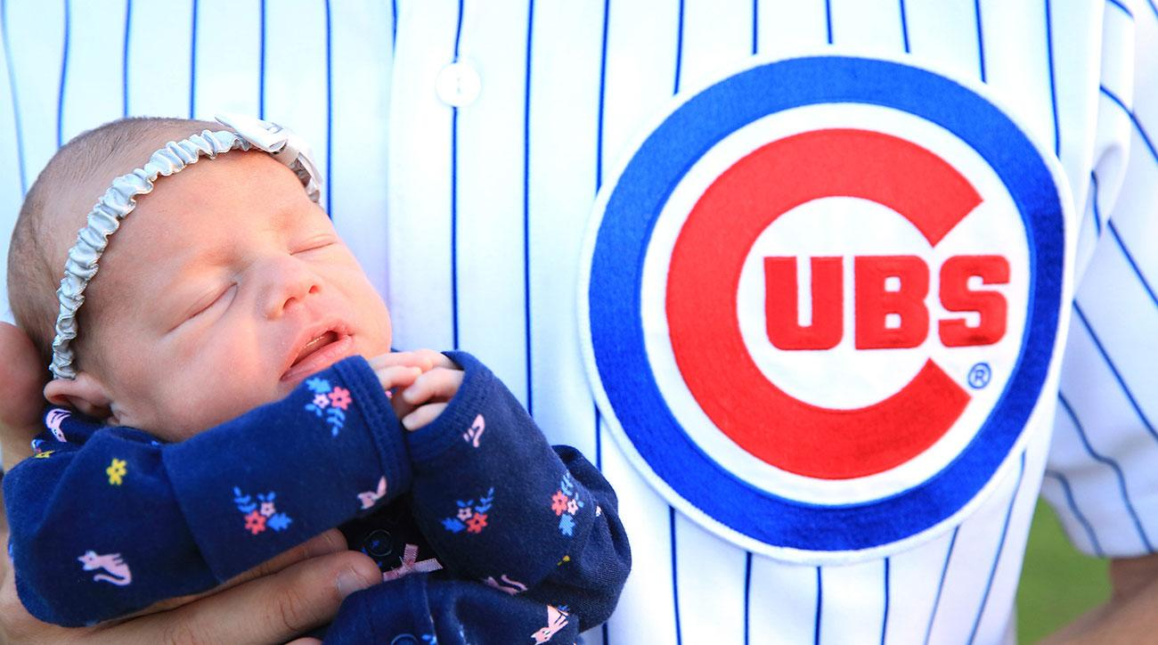 Cubs fans celebrating World Series baby boom