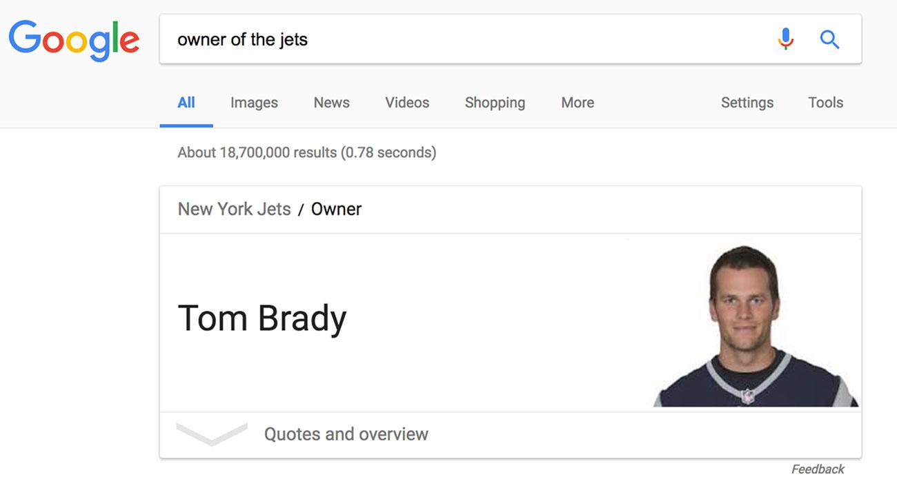 Patriots' Tom Brady is Jets' owner, Google mistakenly says
