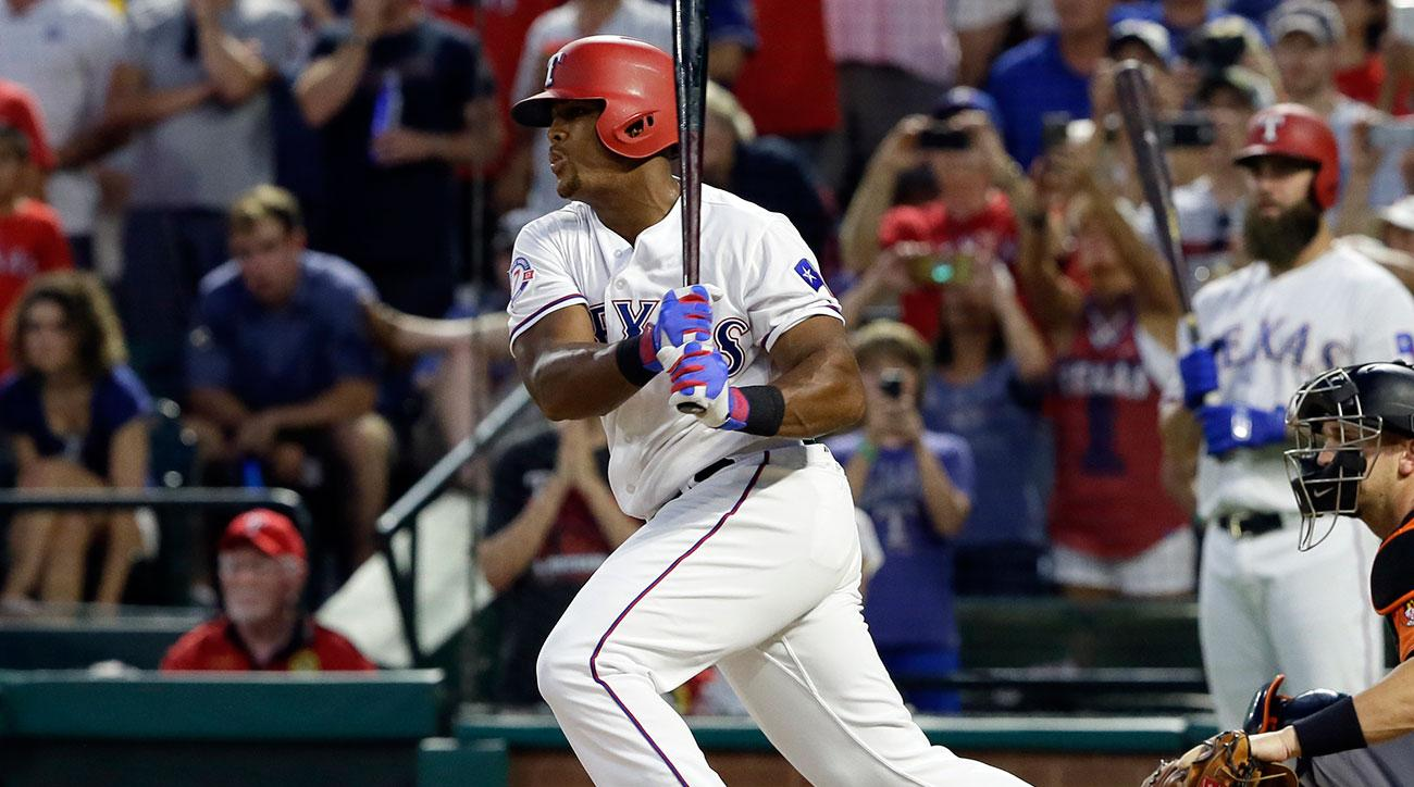 Texas Rangers' Adrian Beltre follows through on a single off a pitch from Baltimore Orioles' Kevin Gausman as Baltimore Orioles catcher Caleb Joseph, right, watches in the fourth inning of a baseball game, Saturday, July 29, 2017, in Arlington, Texas. The