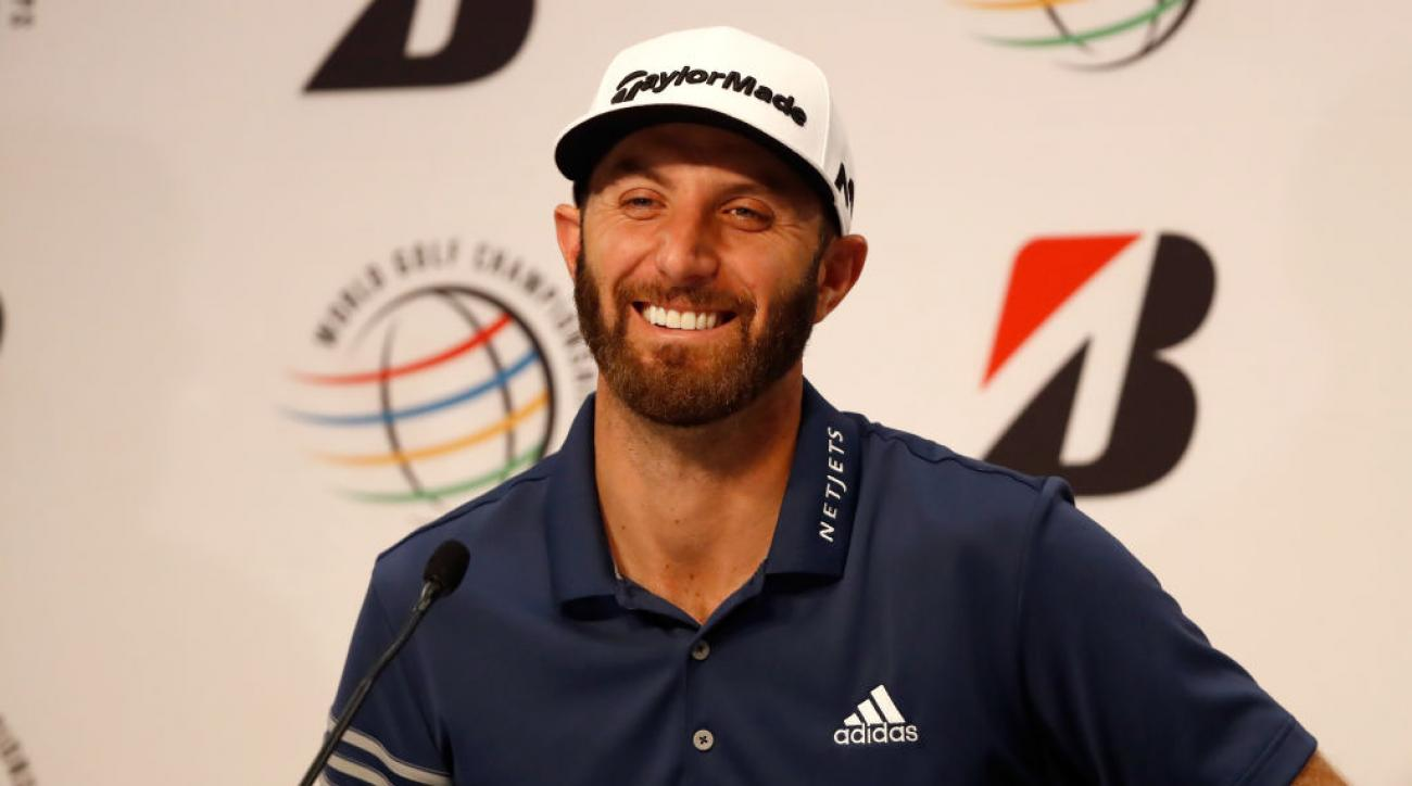 Dustin Johnson speaks at a press conference ahead of the WGC-Bridgestone Invitational.