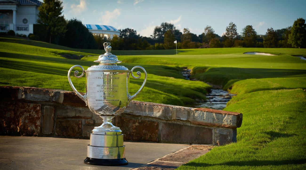 A view of the Wanamaker Trophy by the 18th hole at Quail Hollow Club.